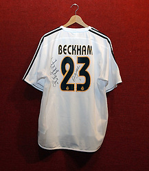 An autographed Real Madrid football shirt signed by David Beckham at an aution of art inspired by footballer David Beckham in aid of The National Deaf Children's Society and held at Christie's, St.James's, London on 4th November 2004.<br /><br />NON EXCLUSIVE - WORLD RIGHTS