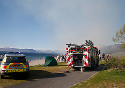 A gorse fire at the popular seaside beach at Ganavan Sands, Oban forced the evacuation of the beach by police officers until the fire was extinguished by Scottish Fire &amp; Rescue Service......... <br /> (c) Stephen Lawson | Edinburgh Elite media