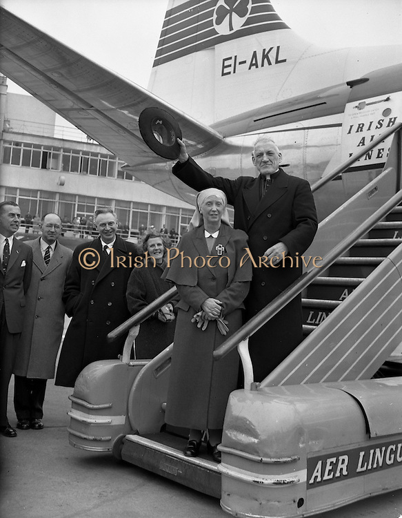22/04/1959<br /> 04/22/1959<br /> 22 April 1959<br /> Cardinal Richard Cushing on Pilgrimage to Lourdes with 70 disabled children leaves Dublin Airport. Cardinal Cushing and Mother Mary Martin, Foundress of the Medical Missionaries of Mary, board the plane for Lourdes. Also in the picture are  Mr. J.F. Dempsey, Senior Manager, Aer Lingus; Mr. James Gorman, Secretary, Aer Lingus and Mr P. Lynch, Chairman of Aer Lingus.