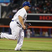 Pitcher Bartolo Colon, New York Mets, runs home to no avail as St. Louis Cardinals get the third out during the New York Mets Vs St. Louis Cardinals MLB regular season baseball game at Citi Field, Queens, New York. USA. 20th May 2015. Photo Tim Clayton