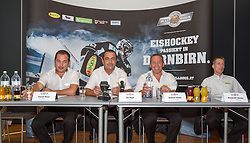 19.08.2012, Messestadion, Dornbirn, AUT, EBEL, Dornbirner Eishockey Club, DEC Media Days 2012, DEC Media Days 2012, Pressekonferenz, im Bild v. l. Patirck Maier (Vorstandsmitglied), Joe Hagen (Praesident), Andreas Kutzer (Vize Praesident) und Alexander Kutzer (General Manager) bei der Vorstellung der Struktur des Dornbirner Eishockey Club // during a press conference of DEC Media Days 2012 of Erste Bank Icehockey League Team, Dornbirner Icehockey club at the Messestadion, Dornbirn, Austria, 2012/08/19, EXPA Pictures © 2012, PhotoCredit: EXPA/ Peter Rinderer