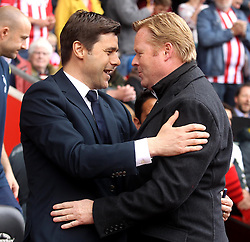 Tottenham Hotspur Manager, Mauricio Pochettino and Southampton Manager, Ronald Koeman shake hands before the game - Photo mandatory by-line: Robbie Stephenson/JMP - Mobile: 07966 386802 - 25/04/2015 - SPORT - Football - Southampton - ST Marys Stadium - Southampton v Tottenham Hotspur - Barclays Premier League