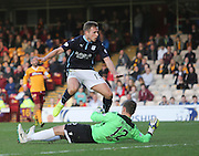 Greg Stewart scores Dundee's third goal  - Motherwell v Dundee, SPFL Premiership at Fir Park<br /> <br />  - &copy; David Young - www.davidyoungphoto.co.uk - email: davidyoungphoto@gmail.com