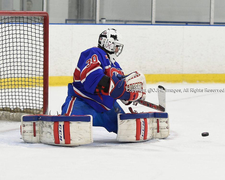 TORONTO, ON - Oct 18, 2015 : Ontario Junior Hockey League game action between Orangeville and Toronto, Daniel Lopapa #30 of the Toronto Jr. Canadiens makes the save during the third period. <br /> (Photo by Andy Corneau / OJHL Images)