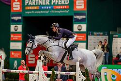 JUNG Michael (GER), Sportsmann S<br /> Leipzig - Partner Pferd 2020<br /> Championat vonLeipzig<br /> Springprfg. mit Stechen, international<br /> Höhe: 1.50 m<br /> 18. Januar 2020<br /> © www.sportfotos-lafrentz.de/Stefan Lafrentz