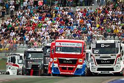 07.07.2013, Red Bull Ring, Spielberg, AUT, Truck Race Trophy, Renntag 2, im Bild Markus Oestreich, (GER, Truck Sport Lutz Bernau, #4, 1. Platz), Norbert Kiss, (HUN, Oxxo Energy Truck Race Team, #10, 3. Platz), Adam Lacko, (CZE, MKR Technology, #3), Benedek Major, (Oxxo Energy Truck Race Team, #12) // during the Truck Race Trophy 2013 at the Red Bull Ring in Spielberg, Austria, 2013/07/07, EXPA Pictures © 2013, PhotoCredit: EXPA/ M.Kuhnke
