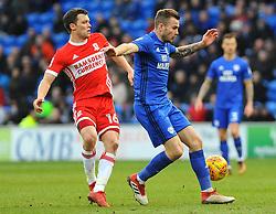 Jonathan Howson of Middlesbrough applies pressure on Joe Ralls of Cardiff City- Mandatory by-line: Nizaam Jones/JMP - 17/02/2018 -  FOOTBALL - Cardiff City Stadium - Cardiff, Wales -  Cardiff City v Middlesbrough - Sky Bet Championship