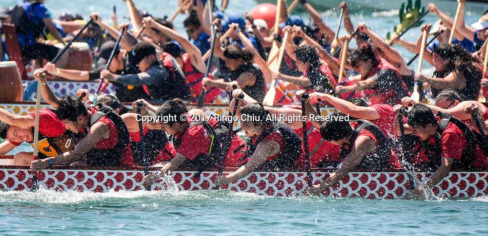 新华社照片,洛杉矶,2017年7月31日<br />     (国际)(9)第二十一届加州长滩龙舟节<br />     7月30日,参赛选手奋力划桨。<br />     在美国洛杉矶长滩市海滨体育场举行的第二十一届年度长滩龙舟节,吸引百余队上千选手参赛。长滩龙舟节是加州最大的龙舟比赛,同时也展示了中国古代龙舟赛的运动。<br />     新华社发(赵汉荣摄)<br /> Dragon Boat racers compete during a 500-meter race at the 21st Annual Long Beach Dragon Boat Festival at Marine Stadium in Long Beach, California, the United States, on July 30, 2017. The Long Beach Dragon Boat Festival is held every year in July at Marine Stadium to hosting the largest dragon boat competitions in California. It showcases the ancient Chinese sport of dragon boat racing. (Xinhua/Zhao Hanrong)(Photo by Ringo Chiu)<br /> <br /> Usage Notes: This content is intended for editorial use only. For other uses, additional clearances may be required.