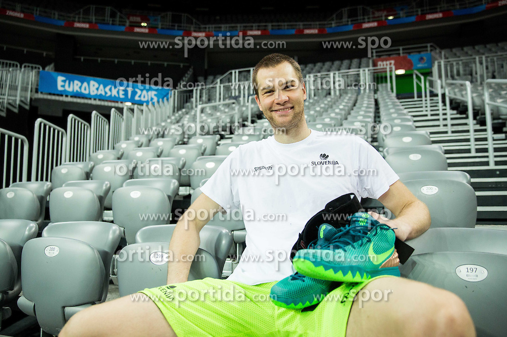 Uros Slokar during practice session of Slovenia National Basketball Team 1 day prior to the FIBA Europe Eurobasket 2015, on September 4, 2015, in Arena Zagreb, Croatia. Photo by Vid Ponikvar / Sportida