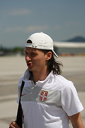 25.05.2010, Airport Salzburg, Salzburg, AUT, WM Vorbereitung, Serbien Ankunft im Bild Marko Pantelic, Nationalteam Serbien, EXPA Pictures © 2010, PhotoCredit EXPA R. Hackl / SPORTIDA PHOTO AGENCY