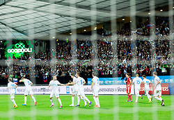 Players of Slovenia celebrate after scoring first goal for Slovenia during football match between National teams of Slovenia and Switzerland at Round 2 of Euro 2016 Qualifications, on October 9, 2014 in Stadium Ljudski vrt, Maribor, Slovenia. Photo by Vid Ponikvar / Sportida.com