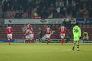 Wrexham players celebrate Gerry McDonagh goal, 3-1 during the Vanarama National League match between Wrexham FC and Forest Green Rovers at the Racecourse Ground, Wrexham, United Kingdom on 26 November 2016. Photo by Shane Healey.