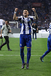 May 6, 2018 - Porto, Porto, Portugal - Porto's Brazilian defender Alex Telles celebrates the title of national champion during the Premier League 2017/18 match between FC Porto and CD Feirense, at Dragao Stadium in Porto on May 6, 2018. (Credit Image: © Dpi/NurPhoto via ZUMA Press)