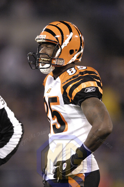 11 November 2007:  Cincinnati Bengals wide receiver Chad Johnson (85) laughs during a break in the action against the Baltimore Ravens on November 11, 2007 at M&T Bank Stadium in Baltimore, Maryland. The Bengals defeated the Ravens 21-7 on the strength of 7 field goals..