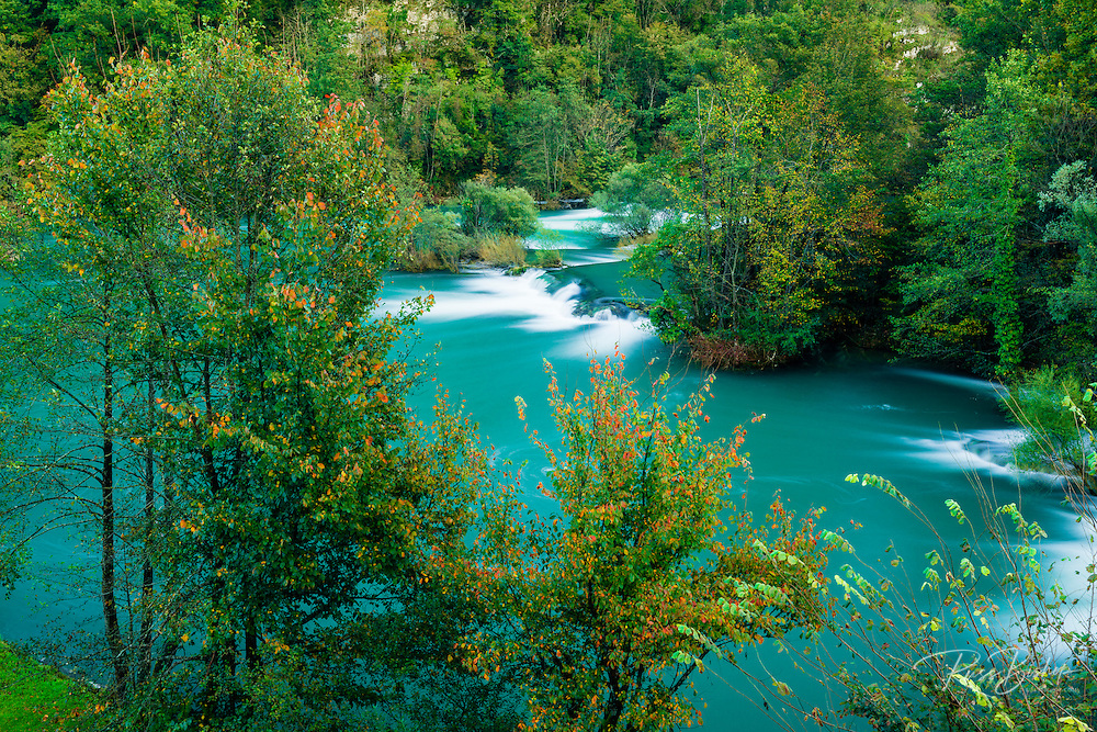 Cascades and fall color along the Mrežnica River, Croatia