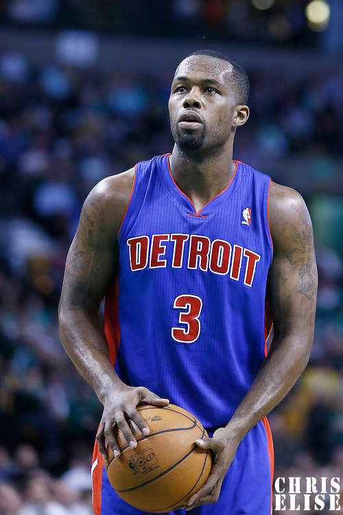 03 April 2013: Detroit Pistons point guard Rodney Stuckey (3) is seen at the free throw line during the Boston Celtics 98-93 victory over the Detroit Pistons at the TD Garden, Boston, Massachusetts, USA.