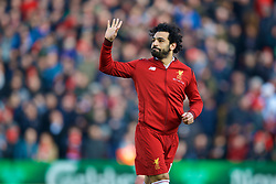 LIVERPOOL, ENGLAND - Saturday, February 24, 2018: Liverpool's Mohamed Salah wearing a warm-up jacket before the FA Premier League match between Liverpool FC and West Ham United FC at Anfield. (Pic by David Rawcliffe/Propaganda)
