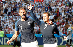 June 30, 2018 - Kazan, Russie - Soccer Football - World Cup - Round of 16 - France vs Argentina - Kazan Arena, Kazan, Russia - June 30, 2018  France's Antoine Griezmann celebrates scoring their first goal with Olivier Giroud (Credit Image: © Panoramic via ZUMA Press)