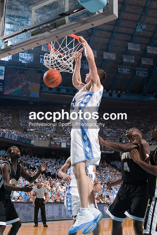 11 November 2006:  North Carolina Tar Heels forward (50) Tyler Hansbrough during a North Carolina Tar Heels 140-101 exhibition win over the Pfeiffer Falcons at the Dean Smith Center in Chapel Hill, NC.<br />