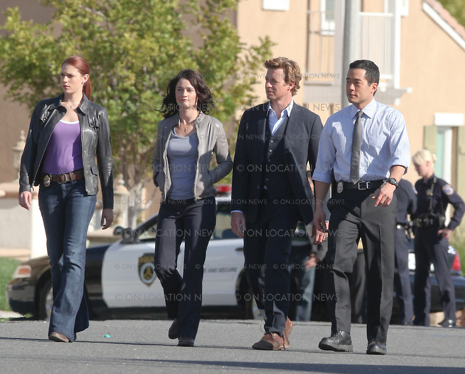 Valencia, CA. March 10th 2009  EXCLUSIVE  Simon Baker, Robin Tunney, Amanda Righetti and Tim Kang on set of The Mentalist. Sales: Eric Ford 818-613-3955 info@onlocationnews.com