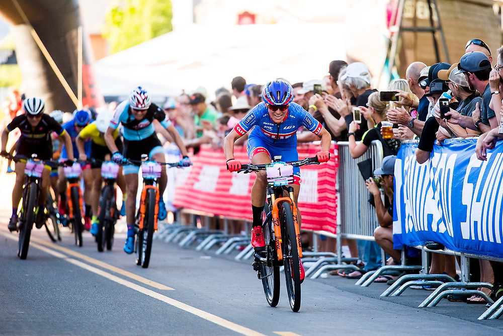 Katerina Nash wins the Pro Women's Fat Tire Crit on Friday.