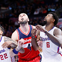 20 March 2015: Washington Wizards center Marcin Gortat (4) vies for the rebound with Los Angeles Clippers forward Matt Barnes (22) and Los Angeles Clippers center DeAndre Jordan (6) during the Los Angeles Clippers 113-99 victory over the Washington Wizards, at the Staples Center, Los Angeles, California, USA.