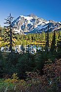View of Mount Shuksan and Picture Lake at the Mount Baker Snoqualmie National Forest in Washington State, USA.