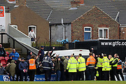 Port Vale fans cause trouble after Grimsby Town equalise and hold the game up during the EFL Sky Bet League 2 match between Grimsby Town FC and Port Vale at Blundell Park, Grimsby, United Kingdom on 10 March 2018. Picture by Mick Atkins.