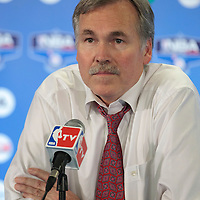 06 October 2010: New York Knicks coach Mike D'Antoni is seen during the press conference following Minnesota Timberwolves 106-100 victory over the New York Knicks, during 2010 NBA Europe Live, at the POPB Arena in Paris, France.