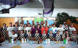 Group photo of Slovenian Olympic Team at departure to Beijing 2008 Olympic games, on July 31, 2008, at Airport Jozeta Pucnika, Brnik, Slovenia. (Photo by Vid Ponikvar / Sportal Images)/ Sportida)