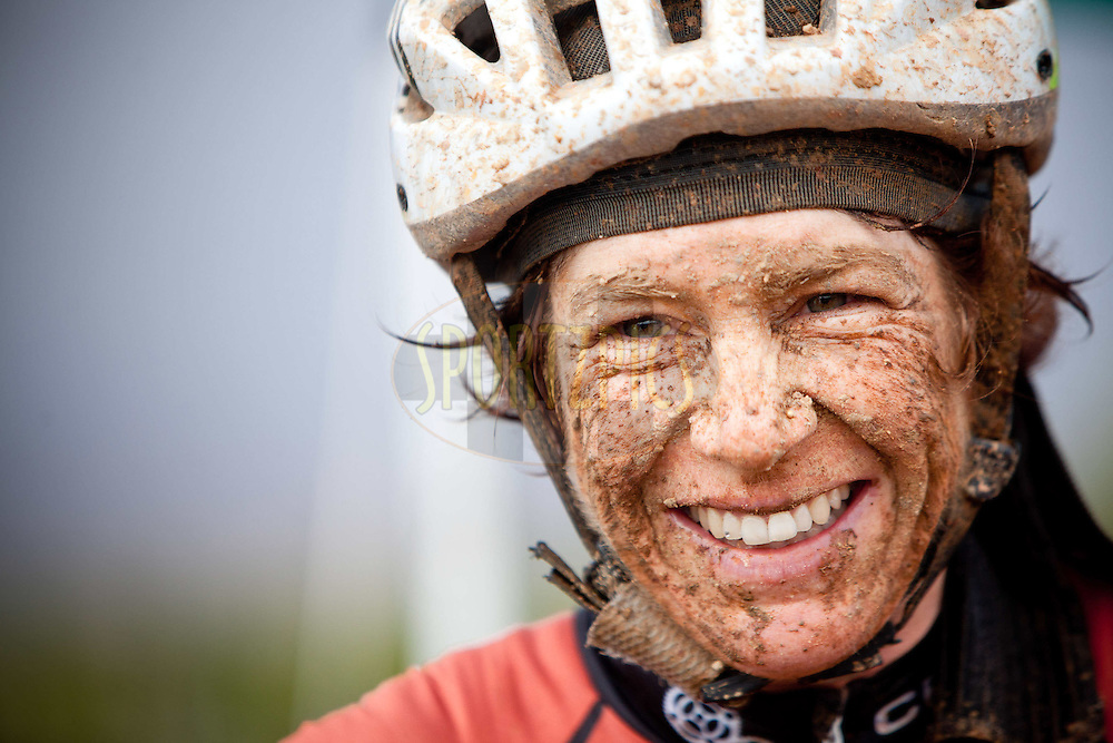 Esther Suss manages a smile during stage 5 of the 2012 Absa Cape Epic Mountain Bike stage race from the Overberg Primary & High School in Caledon to Oak Valley Wine Estate in the Elgin Valley, South Africa on the 30 March 2012..Photo by Karin Schermbrucker/Cape Epic/SPORTZPICS