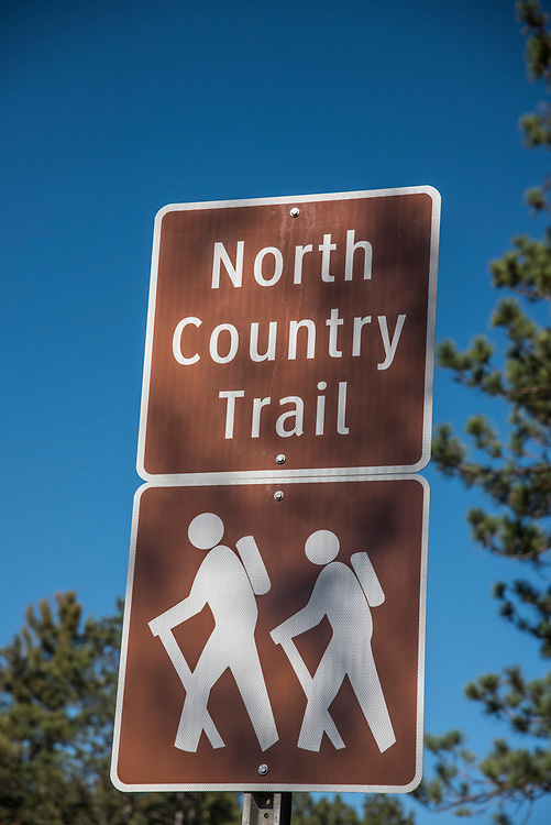 Sign for the North Country Trail near Sugarloaf Mountain natural area near Marquette, Michigan.
