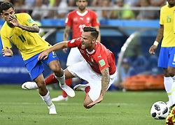 ROSTOV-ON-DON, June 17, 2018  Haris Seferovic (R front) of Switzerland falls down during a group E match between Brazil and Switzerland at the 2018 FIFA World Cup in Rostov-on-Don, Russia, June 17, 2018. (Credit Image: © Chen Yichen/Xinhua via ZUMA Wire)