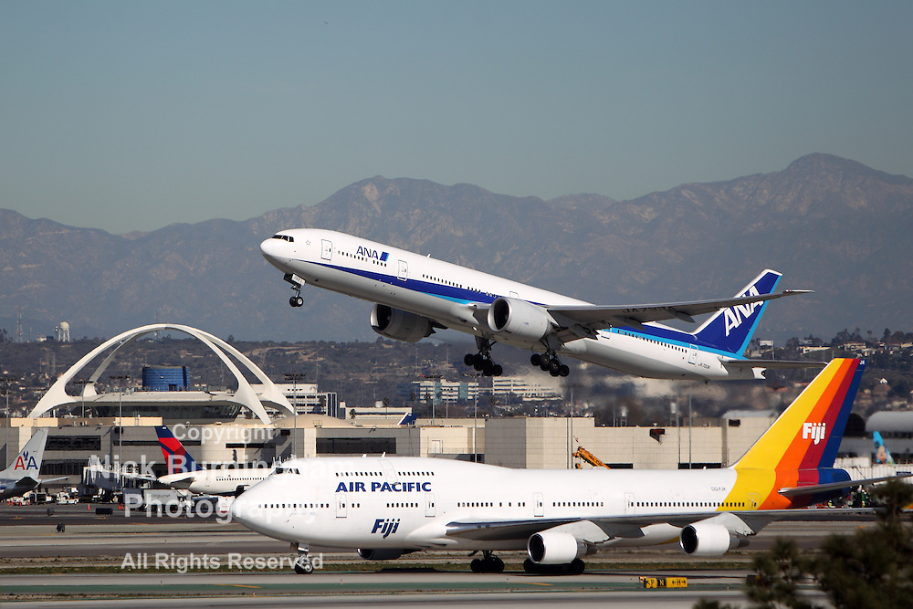 LOS ANGELES, CALIFORNIA, USA - JANUARY 15, 2013 - All Nippon Airways Boeing 777-381 takes off at Los Angeles Airport on January 15, 2013. The plane has the world's most powerful jet engine in service.