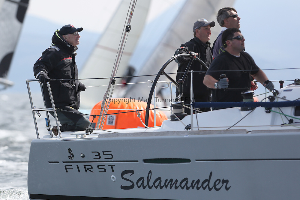 The Silvers Marine Scottish Series 2014, organised by the  Clyde Cruising Club,  celebrates it's 40th anniversary.<br /> Day 2 FRA37296, Salamander XXI, John Corson, CCC, First 35<br /> Racing on Loch Fyne from 23rd-26th May 2014<br /> <br /> Credit : Marc Turner / PFM
