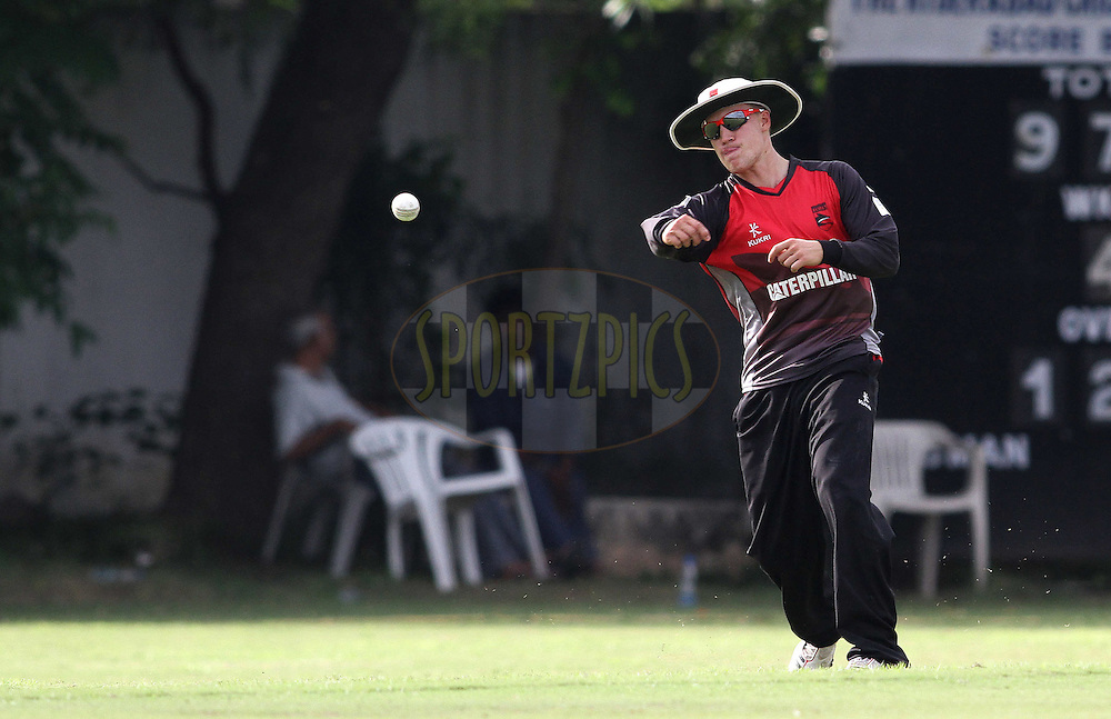 Josh Cobb of the Leicestershire Foxes throws in during the Leicestershire Foxes warm up match held at the HCA Gymkhana Ground in Secunderabad, Hyderabad, India on the 18 September 2011...Photo by Shaun Roy/BCCI/SPORTZPICS