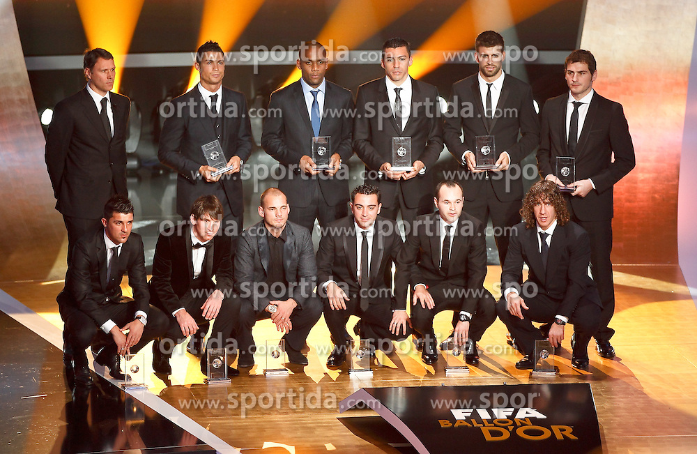 10.11.2011, Zürich, CH, FIFA Golden Ball Gala, in Up From left to rigth, Cristiano Ronaldo, Maicon, Lucio, Gerard Pique and Iker Casillas. Down David Villa, Lionel Messi, Wesley Sneijder, Xavi Hernandez, Andres Iniesta and Carles Puyol during FIFA Golden Ball gala. January 10, 2011, EXPA Pictures © 2011, PhotoCredit: EXPA/ Alterphotos