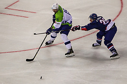 Blaz Gregorc of Slovenia during Ice Hockey match between National Teams of Great Britain and Slovenia in Round #1 of 2018 IIHF Ice Hockey World Championship Division I Group A, on April 22, 2018 in Budapest, Hungary. Photo by David Balogh / Sportida