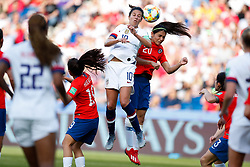 2019?6?17?.   ???????????——F??????????.    6?16??????????????????????????????????  .   ?????????????????2019??????????F??????????3?0??????.   ?????????..SP-FRANCE-PARIS-FIFA WOMEN'S WORLD CUP-GROUP F-USA-CHILE.(1906017) -- PARIS, June 17, 2019  Carli Lloyd (4th L) of the United States and Daniela Zamora (3rd R) of Chile compete during the Group F match between the United States and Chile at the 2019 FIFA Women's World Cup in Parc des Princes in Paris, France, June 16, 2019.  The United States won 3-0. (Credit Image: © Xinhua via ZUMA Wire)