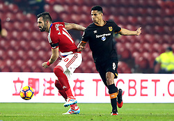 Alvaro Negredo of Middlesbrough takes on Curtis Davies of Hull City - Mandatory by-line: Robbie Stephenson/JMP - 05/12/2016 - FOOTBALL - Riverside Stadium - Middlesbrough, England - Middlesbrough v Hull City - Premier League