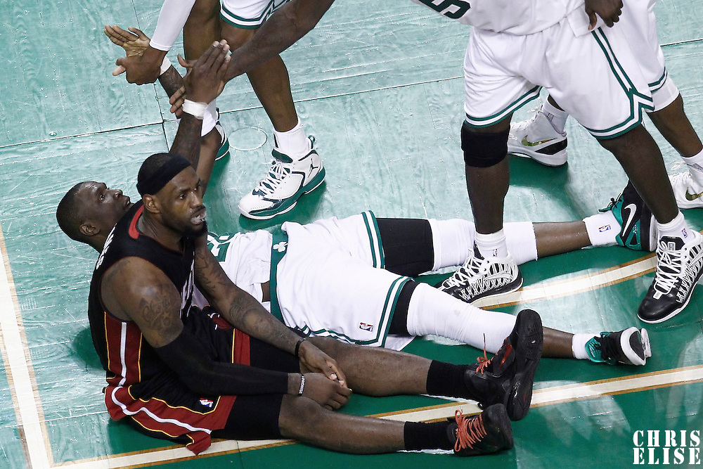 03 June 2012: Miami Heat small forward LeBron James (6) looks dejected as he is fouled out during the Boston Celtics 93-91 overtime victory over the Miami Heat, in Game 4 of the Eastern Conference Finals playoff series, at the TD Banknorth Garden, Boston, Massachusetts, USA.