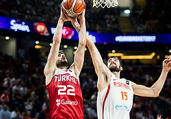 Furkan Korkmaz of Turkey vs Joan Sastre of Spain during basketball match between National Teams of Spain and Turkey at Day 11 in Round of 16 of the FIBA EuroBasket 2017 at Sinan Erdem Dome in Istanbul, Turkey on September 10, 2017. Photo by Vid Ponikvar / Sportida