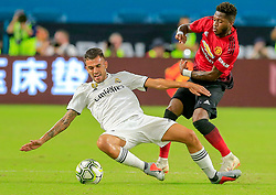 Real Madrid midfielder Dani Ceballos (24) and Manchester United midfielder Fred (17) battle for the ball in the first half at Hard Rock Stadium in Miami Gardens, FL, USA on Tuesday, July 31, 2018. Manchester United won, 2-1. Photo by Al Diaz/Miami Herald/TNS/ABACAPRESS.COM