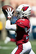 Arizona Cardinals defensive back Budda Baker (36) catches a pass during pregame warmups before the 2018 NFL regular season week 2 football game against the Los Angeles Rams on Sunday, Sept. 16, 2018 in Los Angeles. The Rams won the game in a 34-0 shutout. (©Paul Anthony Spinelli)