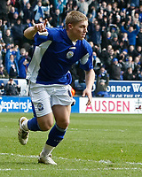 Photo: Steve Bond/Richard Lane Photography. Leicester City v Cardiff City. Coca Cola Championship. 13/03/2010. Martyn Waghorn turns away after scoring