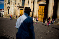 A man sands in the court yard of the Cathederal in the Parque de Centeral in Zone 1 of Guatemala city Sunday Oct. 28, 2007 in Guatemala. ( Photo/Darren  Hauck)..........