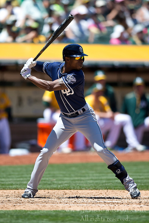 OAKLAND, CA - JUNE 18:  Melvin Upton Jr. #2 of the San Diego Padres at bat against the Oakland Athletics during the fifth inning at O.co Coliseum on June 18, 2015 in Oakland, California. The San Diego Padres defeated the Oakland Athletics 3-1. (Photo by Jason O. Watson/Getty Images) *** Local Caption *** Melvin Upton Jr.