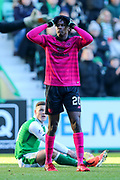 Dedryck Boyata (#20) of Celtic reacts to being called up for a foul during the Ladbrokes Scottish Premiership match between Hibernian and Celtic at Easter Road, Edinburgh, Scotland on 10 December 2017. Photo by Craig Doyle.