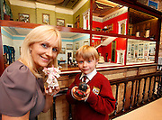 No Fee for Repro: 02/06/2011.RTE's Miriam O'Callaghan is pictured with Timothy Christie (age 7) at the opening of Tara's Palace Museum of Childhood's new home in Powerscourt Estate, Enniskerry, Co. Wicklow. The museum is based over three rooms in the main house and is open daily from 10 a.m. to 5 p.m., Monday to Saturday and from 12 noon to 5 p.m. on Sunday. Entry fee for an adult is EUR5 and EUR3 for a child, with a special family rate of EUR12 that admits two adults and three children. The concession rate is EUR4. All funds raised are distributed annually to childrens' charities throughout Ireland. Pic Andres Poveda .