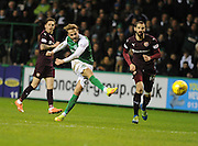 Andrew Shinnie blasts home Hibs' third goal during the Scottish Cup fifth round replay match between Hibernian and Heart of Midlothian at Easter Road, Edinburgh, Scotland on 22 February 2017. Photo by Kevin Murray.